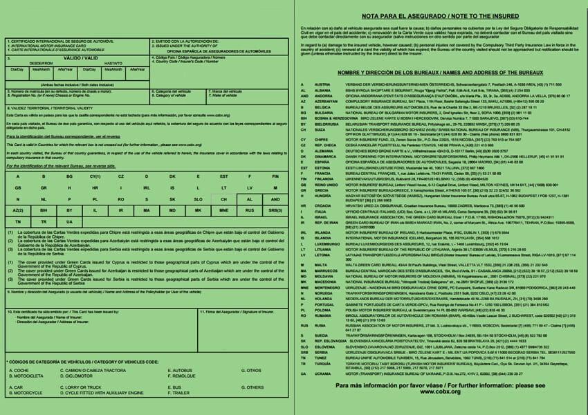 Carta verde do seguro automóvel